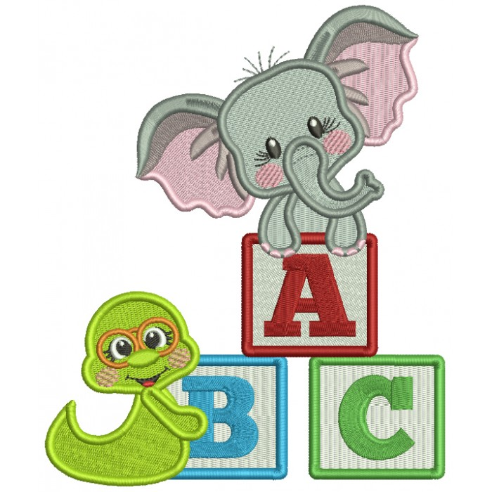 Little Elephant With ABC Blocks Back To School Filled Machine Embroidery Design Digitized Pattern