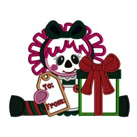 Little Girl With Presents To From Christmas Applique Machine Embroidery Design Digitized Pattern