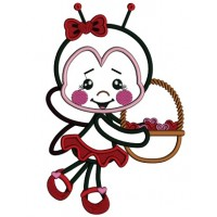 Little Ladybug Holding a Basket Full Of Hearts Applique Machine Embroidery Design Digitized Pattern