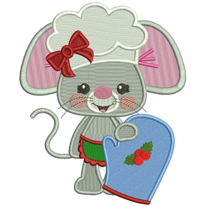 Little Mouse Holding a Mitten Filled Machine Embroidery Design Digitized Pattern