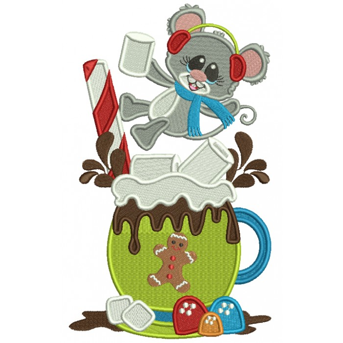 Little Mouse On the Cup Of Cocoa Cup Filled Christmas Machine Embroidery Design Digitized Pattern