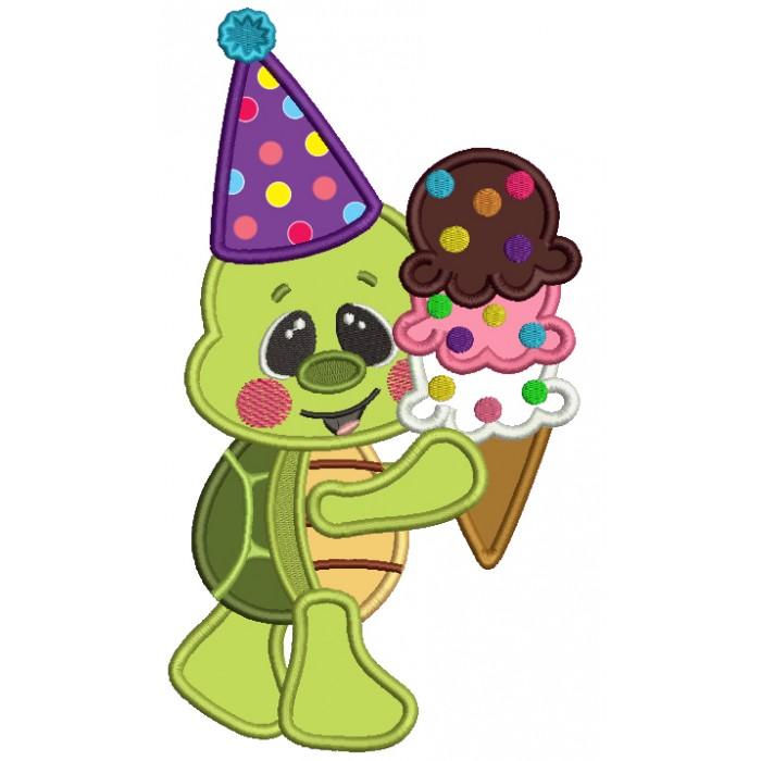 Little Turtle Holding Ice Cream Cone And Wearing Birthday Hat Applique Machine Embroidery Design Digitized Pattern