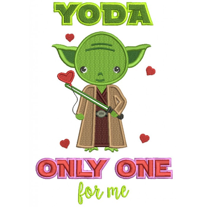 Looks Like Yoda From Star Wars Only One For Me Filled Machine Embroidery Design Digitized Pattern