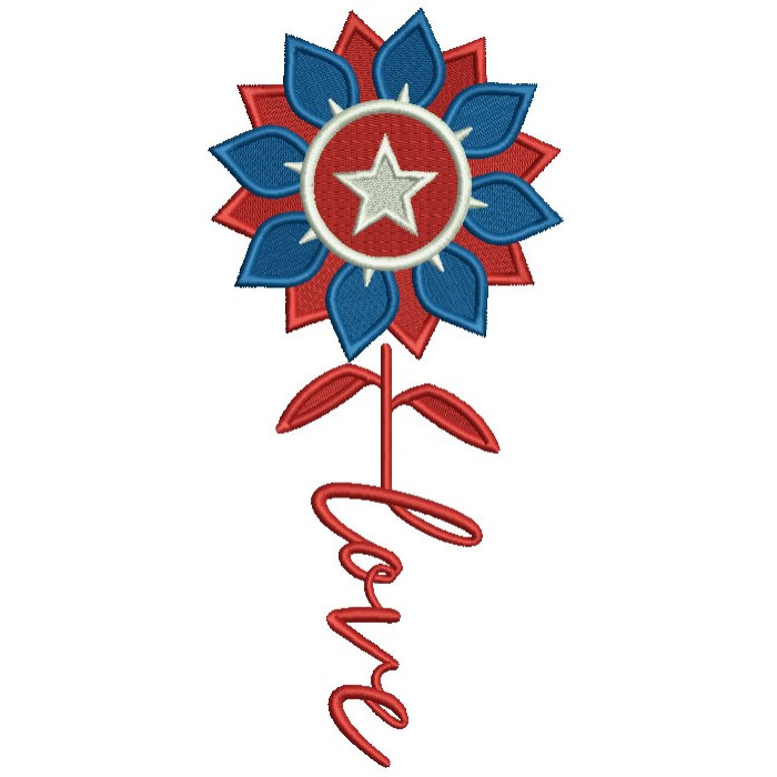 Love Patriotic Flower With a Star Independence Day Filled Machine Embroidery Design Digitized Pattern