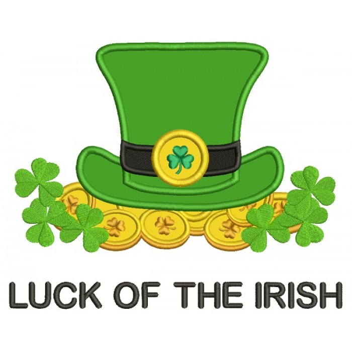 Luck Of The Irish Coins And a Hat St. Patrick's Applique Machine Embroidery Design Digitized