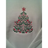 Majestic Christmas Tree With Fancy Star Filled Machine Embroidery Design Digitized Pattern