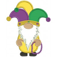 Mardi Gras Gnome Wearing Jester Crown Applique Machine Embroidery Design Digitized Pattern