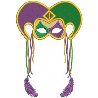 Mardi Grass Jester Hat With Long Feathers Applique Machine Embroidery Design Digitized Pattern