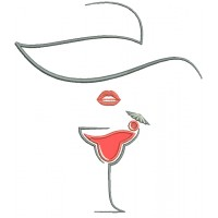 Martini Glass Lips Applique Machine Embroidery Design Digitized Pattern
