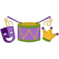 Mask Drums and Jester Hat Mardi Gras Applique Machine Embroidery Design Digitized Pattern