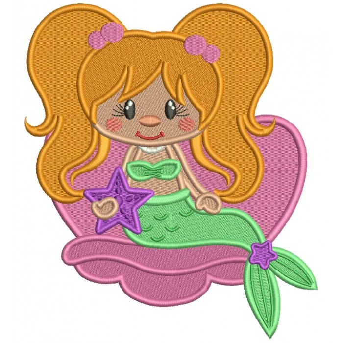 Mermaid Holding a Star Filled Machine Embroidery Design Digitized Pattern
