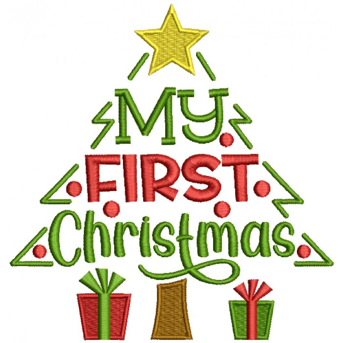 My First Christmas Tree And Gifts Filled Machine Embroidery Design Digitized Pattern