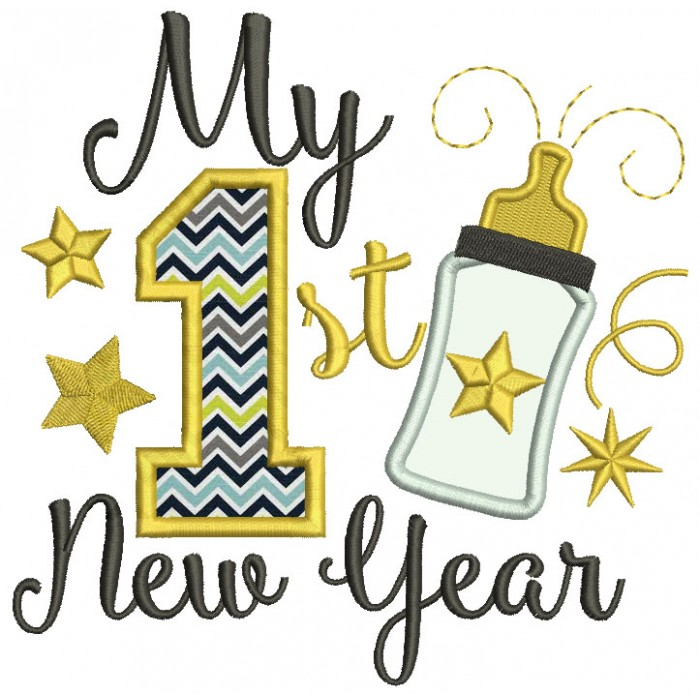 My First New Year Baby Bottle Applique Machine Embroidery