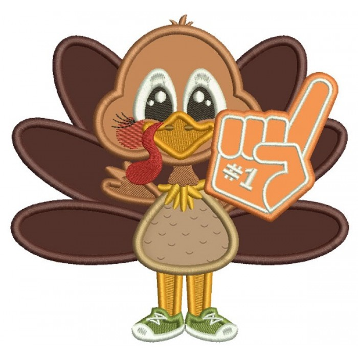 Number One Football Fan Turkey Thanksgiving Applique Machine Embroidery Design Digitized Pattern
