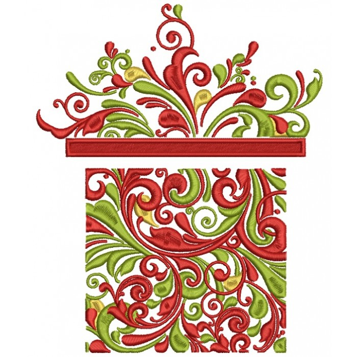 Ornate Christmas Present Filled Machine Embroidery Design Digitized Pattern