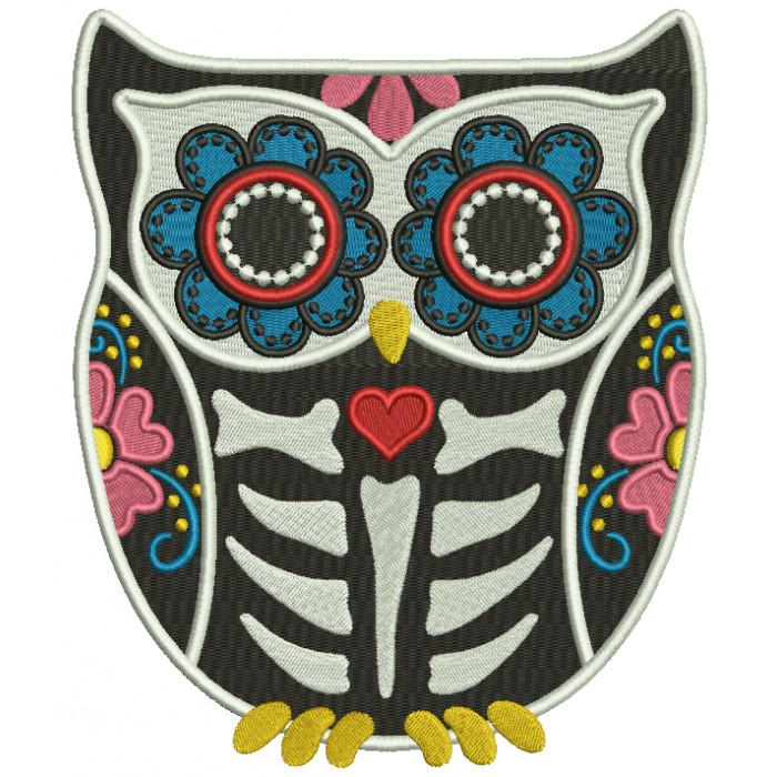 Ornate Sugar Skull Owl Filled Machine Embroidery Design Digitized Pattern