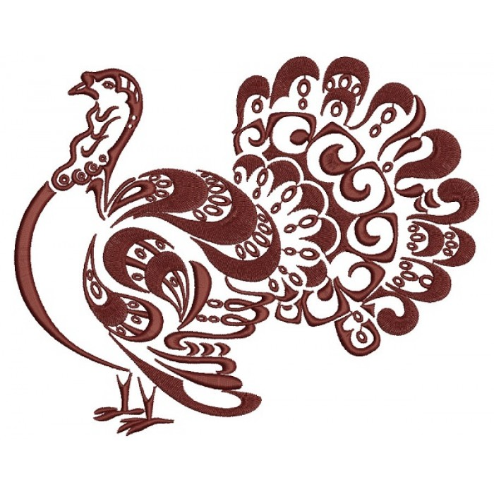 Ornate Turkey Thanksgiving Filled Machine Embroidery Design Digitized Pattern
