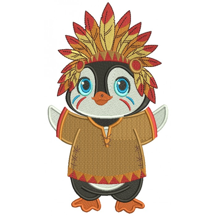 Penguin Indian Wearing Hat With Feathers Thanksgiving Filled Machine Embroidery Design Digitized Pattern