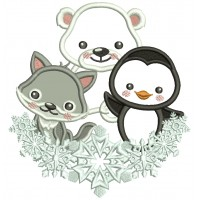 Penguin Polar Bear and a Fox Christmas Applique Machine Embroidery Design Digitized Pattern