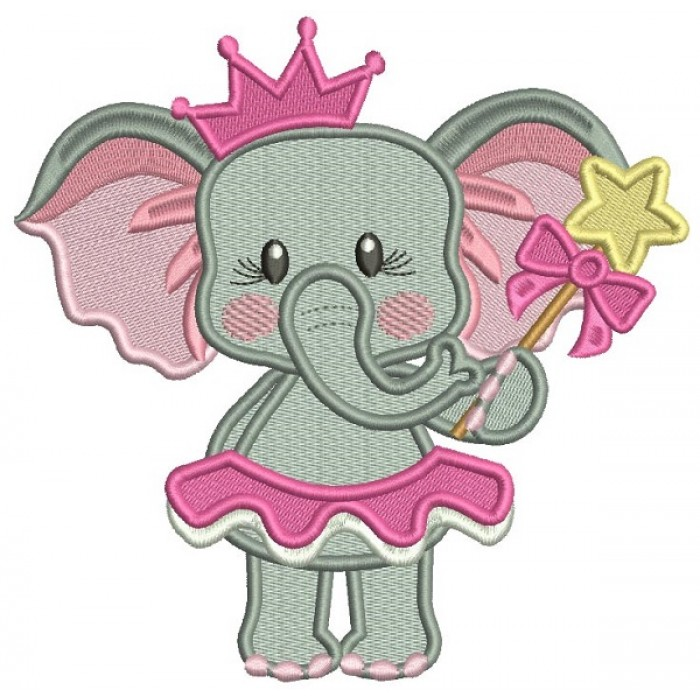 Princess Girl Elephant Fairy Filled Machine Embroidery Design Digitized Pattern