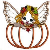 Pumpkin Fairy Thanksgiving Applique Machine Embroidery Design Digitized Pattern