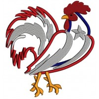 Rooster American Flag Applique Machine Embroidery Design Digitized Pattern