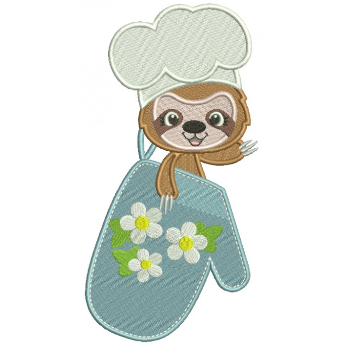 Sloth Cook Holding a Cooking Mitt Filled Machine Embroidery Design Digitized Pattern