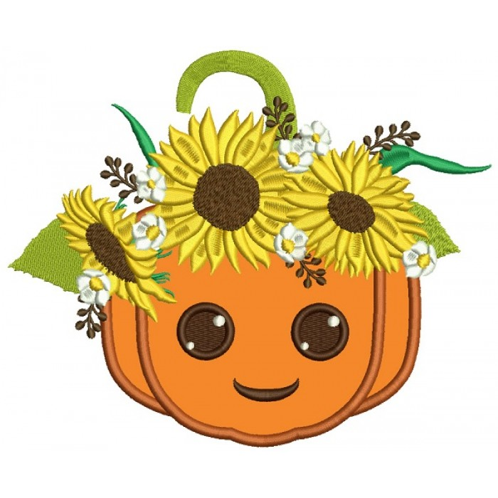 Smiling Pumpkin With Sunflowers Thanksgiving Applique Machine Embroidery Design Digitized Pattern