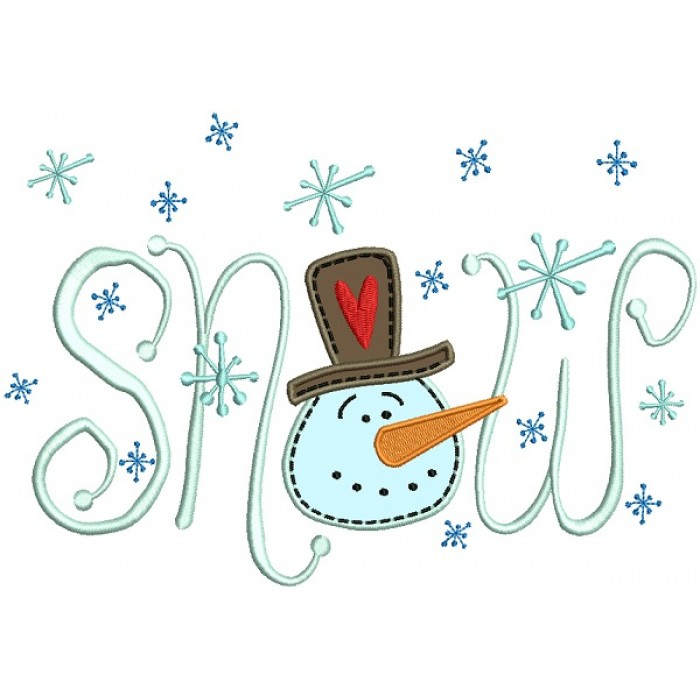 Snow Snowman Christmas Applique Machine Embroidery Design Digitized Pattern