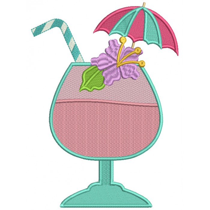 Summer Drink With an Umbrella Filled Machine Embroidery Design Digitized Pattern