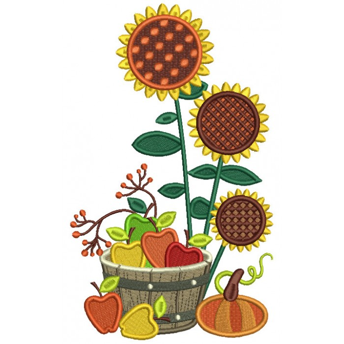 Sunflowers And Apples In The Wooden Basket Fall Filled Machine Embroidery Design Digitized Pattern