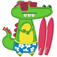 Surfer Gator Wearing Sunglasses Applique Machine Embroidery Design Digitized Pattern
