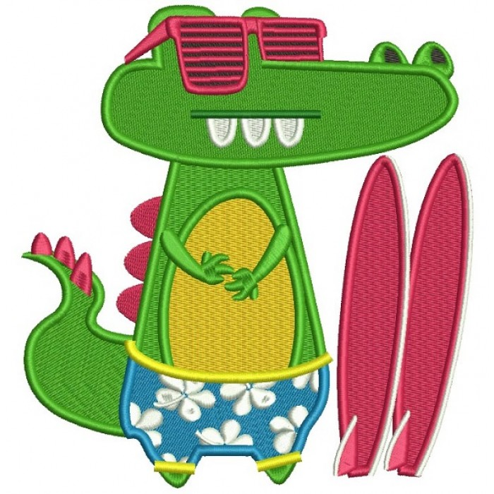 Surfer Gator Wearing Sunglasses Filled Machine Embroidery Design Digitized Pattern