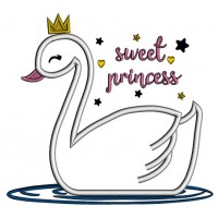 Sweet Princess Swan Applique Machine Embroidery Design Digitized Pattern