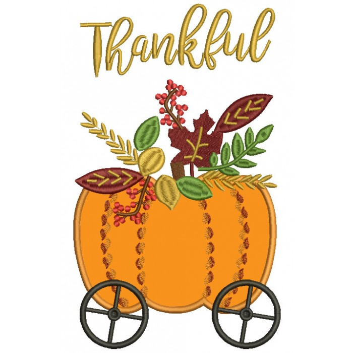 Thankful Pumpkin Carriage Applique Thanksgiving Machine Embroidery Design Digitized Pattern