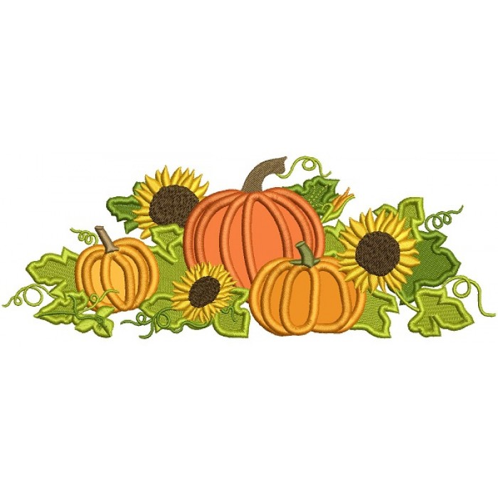 Thanksgiving Cornucopia WIth Pumpkins and Sunflowers Applique Machine Embroidery Design Digitized Pattern