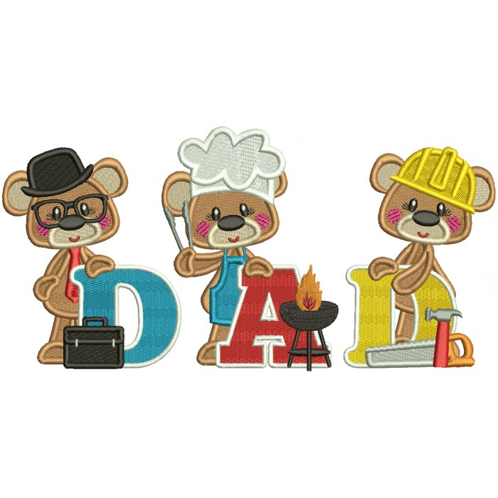 Three Bears Dad Father's Day Filled Machine Embroidery Design Digitized Pattern