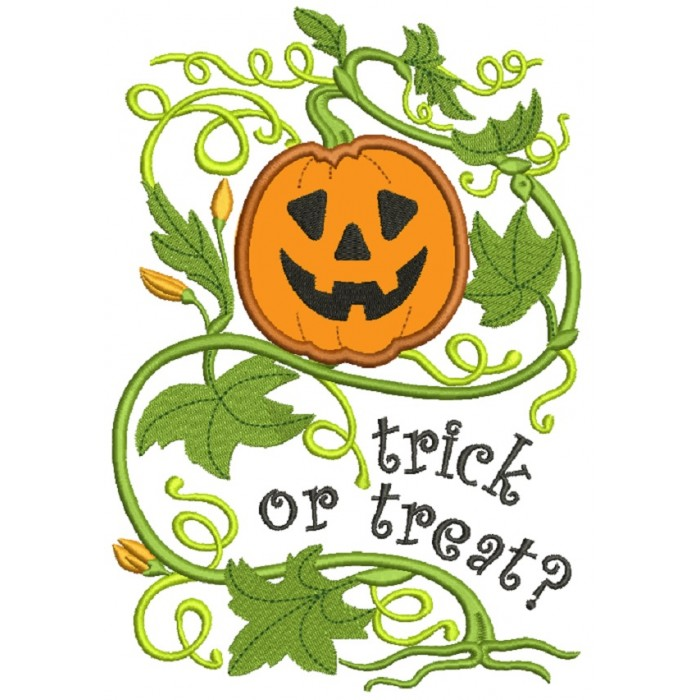 Trick or Treat Pumpkin Ornamental Vine Halloween Applique Machine Embroidery Design Digitized Pattern