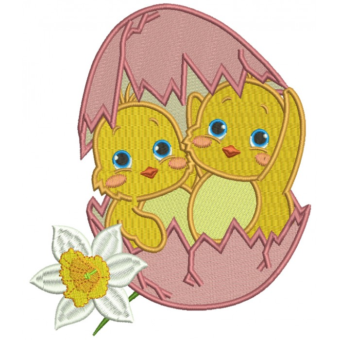Two Chicks Inside Egg Easter Filled Machine Embroidery Design Digitized