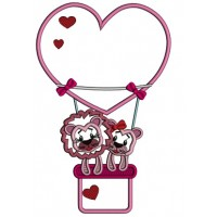Two Lions In Love Flying a Heart Shaped Air Balloon Applique Machine Embroidery Design Digitized Pattern