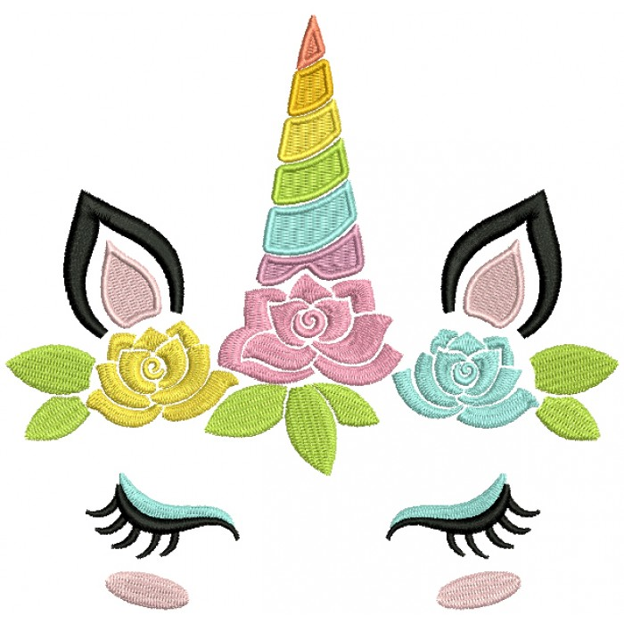 Unicorn Head With Flowers Filled Machine Embroidery Design Digitized Pattern
