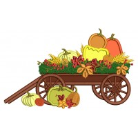 Wagon With Pumpkins Applique Machine Embroidery Design Digitized Pattern