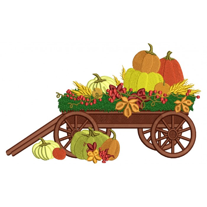 Wagon With Pumpkins Filled Machine Embroidery Design Digitized Pattern