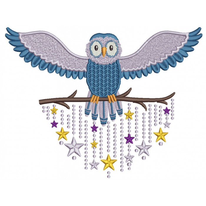 Whimsical Owl Filled Machine Embroidery Design Digitized Pattern