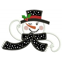 Winking Snowman Applique Christmas Machine Embroidery Design Digitized Pattern