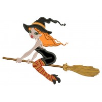 Witch Flying a Broom Halloween Applique Machine Embroidery Design Digitized Pattern