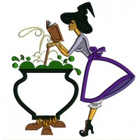 Witch Stirring The Pot and Reading a Book Halloween Applique Machine Embroidery Design Digitized Pattern