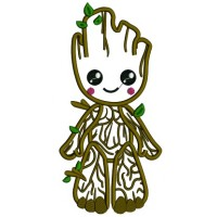 Wood Man Looks Like Groot From Gardian Of The Galaxy Applique Machine Embroidery Design Digitized Pattern