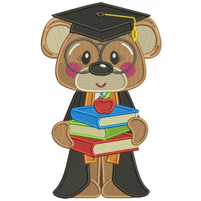 Bear Graduate Holding Books School Filled Machine Embroidery Design Digitized Pattern