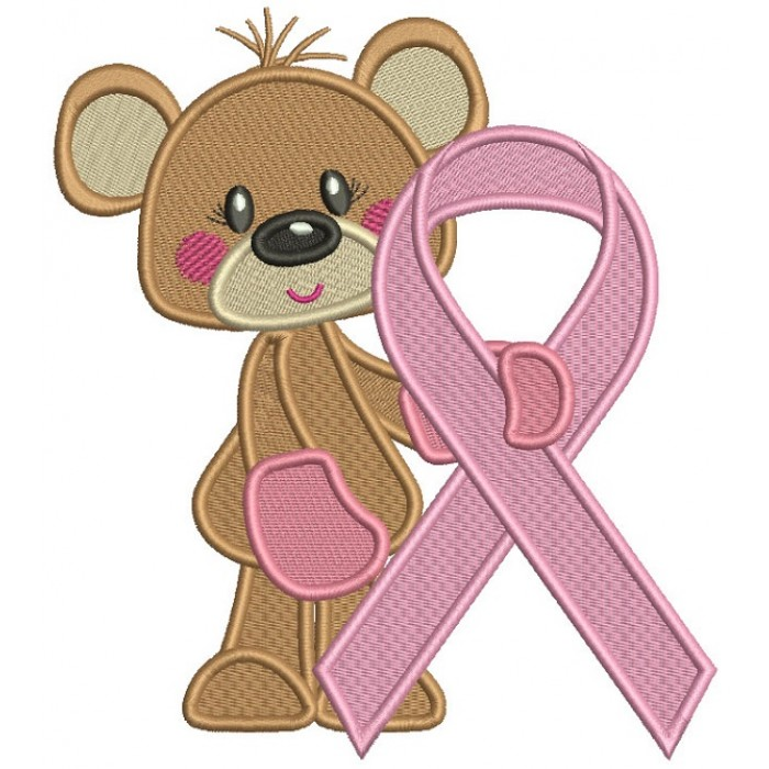 Bear Holding Breast Cancer Awareness Ribbon Filled Machine Embroidery Design Digitized Pattern